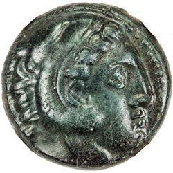 MACEDONIAN KINGDOM: Alexander III, the Great, 336-323 BC, AE unit (16 mm) (6.18g), ND. NGC EF