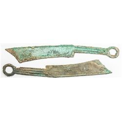 WARRING STATES: LOT of 3 pieces of pointed tip knife money