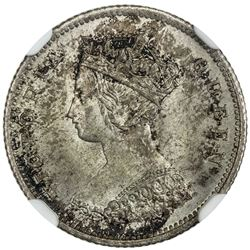 HONG KONG: Victoria, 1841-1901, AR 10 cents, 1863. NGC MS64