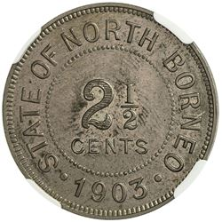 BRITISH NORTH BORNEO: 2 1/2 cent, 1903-H. NGC SP64