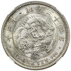 JAPAN: Meiji, 1897-1912, AR yen, year 34 (1901). NGC MS65