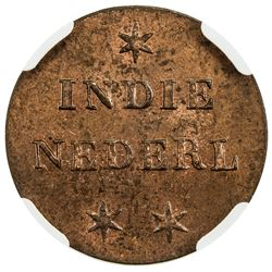 NETHERLANDS EAST INDIES: AE duit, 1836. NGC MS64