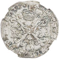 FLANDERS: Albrecht and Isabella, 1598-1621, AR 1/4 patagon, ND (1612-21). NGC MS62