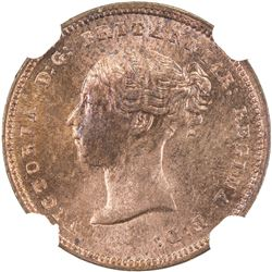 GREAT BRITAIN: Victoria, 1837-1901, AE 1/2 farthing, 1843. NGC MS63