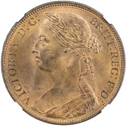 GREAT BRITAIN: Victoria, 1837-1901, AE penny, 1887. NGC MS64