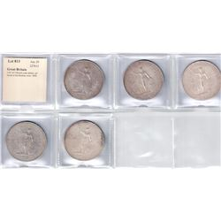 GREAT BRITAIN: LOT of 5 British trade dollars, all struck at the Bombay mint