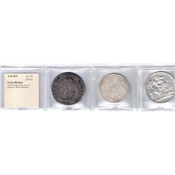 GREAT BRITAIN: LOT of 3 large silver coins