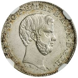 TUSCANY: Leopold II, 2nd reign, 1849-1859, AR 1/2 paolo, 1857. NGC MS64