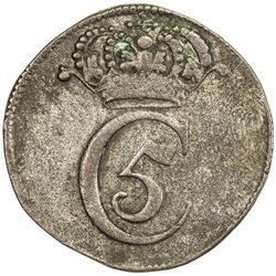 NORWAY: Christian V, 1670-1699, BI 4 skilling (4.69g), 1677. VF