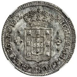 PORTUGAL: Miguel, 1828-1834, AR 60 reis, ND. NGC MS66