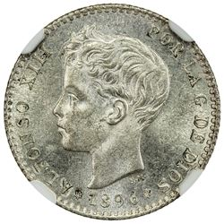 SPAIN: Alfonso XIII, 1886-1931, AR 50 centimos, 1896. NGC MS65