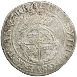SWEDEN: Erik XIV, 1560-1568, AR 2 mark (22.06g), 1563. F