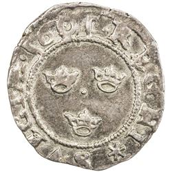SWEDEN: Karl IX, as regent, 1598-1604, AR fyrk (1.12g), 1601. EF