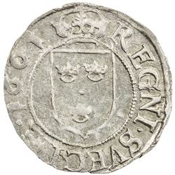 SWEDEN: Karl IX, as regent, 1598-1604, AR 1/2 ore (1.59g), 1601. UNC