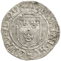 SWEDEN: Karl IX, as regent, 1598-1604, AR 1/2 ore (1.46g), 1599. VF-EF