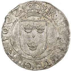 SWEDEN: Karl IX, as regent, 1598-1604, AR 1/2 ore (1.55g), 1602. EF
