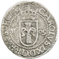 SWEDEN: Karl IX, as king, 1604-1611, AR 2 ore (1.52g), 1609. VF