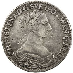 SWEDEN: Christina, 1632-1654, AR 2 mark, 1650. VF