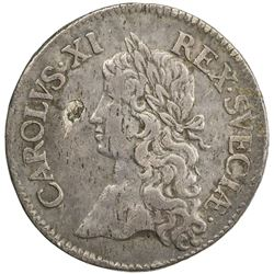 SWEDEN: Karl XI, 1660-1697, AR 2 mark, 1668. VF