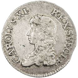 SWEDEN: Karl XI, 1660-1697, AR 2 mark, 1671. VF