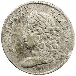 SWEDEN: Karl XI, 1660-1697, AR 2 mark, 1674. VF