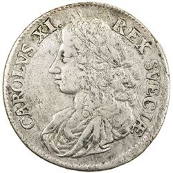 SWEDEN: Karl XI, 1660-1697, AR 2 mark, 1675. F-VF