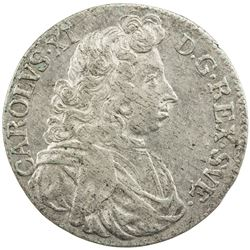SWEDEN: Karl XI, 1660-1697, AR 2 mark, 1688. EF