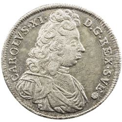 SWEDEN: Karl XI, 1660-1697, AR 4 mark, 1694. EF-AU