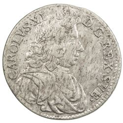 SWEDEN: Karl XI, 1660-1697, AR mark, 1688. VF