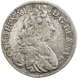 SWEDEN: Karl XI, 1660-1697, AR mark, 1689. F-VF