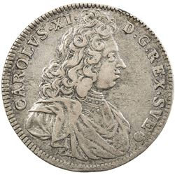 SWEDEN: Karl XI, 1660-1697, AR 4 mark, 1692. VF