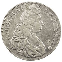 SWEDEN: Karl XI, 1660-1697, AR 4 mark, 1693. F-VF