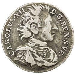 SWEDEN: Karl XII, 1697-1718, AR mark, 1713/2. F-VF