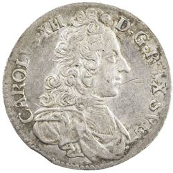 SWEDEN: Karl XII, 1697-1718, AR 2 mark, 1702. VF