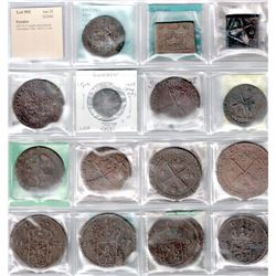 SWEDEN: LOT of 15 copper coins from the 17th century