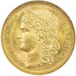 SWITZERLAND: AV 20 francs, 1883. ANACS MS63