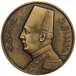 EGYPT: Fuad, king, 1922-1936, AE medal, 1927. UNC