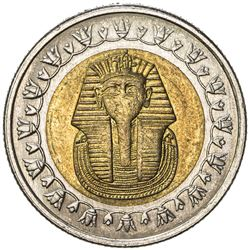 EGYPT: bi-metallic pound (8.49g), ND, KM-940, both sides struck from the reverse dies, UNC