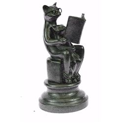 Charming Handcrafted Cat with Baby Telling Stories Bronze Sculpture