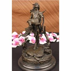 Native American Indian With Deer Bronze Sculpture