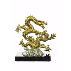 24K Gold Silver Plated Chinese DragonSculpture