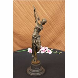 Girl Playing Flute Bronze Sculpture