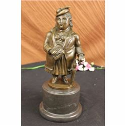 Woman Bronze Figurine on Marble Base Sculpture