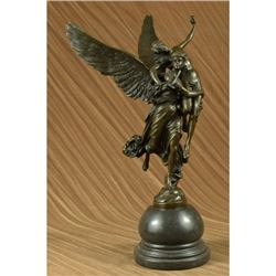 Greek Mythology Carrier Angel Carrying Nude Female Bronze Sculpture