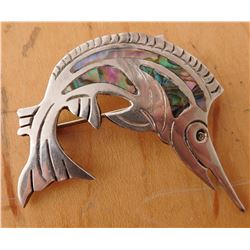 Mexican Sterling Silver & Abalone Swordfish Pin