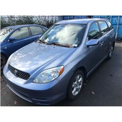 2003 TOYOTA MATRIX XR, BLUE, 4 DOOR  HATCHBACK, 1.8L, GAS, AUTOMATIC, VIN#2T1KR32E83C737806,