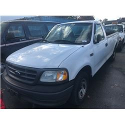 2003 FORD F150 XL, WHITE, 2 DOOR PICKUP, 4.2L, GAS, AUTOMATIC, VIN#2FTRF17283CA90269, 126,949KMS,