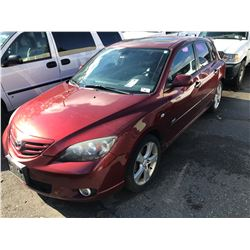2006 MAZDA 3, 4 DOOR HATCHBACK, RED, 2.3L, GAS, MANUAL, VIN#JM1BK143861504568, 188,077,
