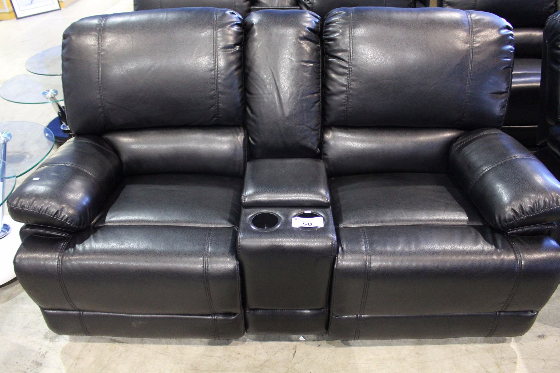 Black Bonded Leather Three Piece Reclining Living Room Set With Sofa Loveseat And Chair Able