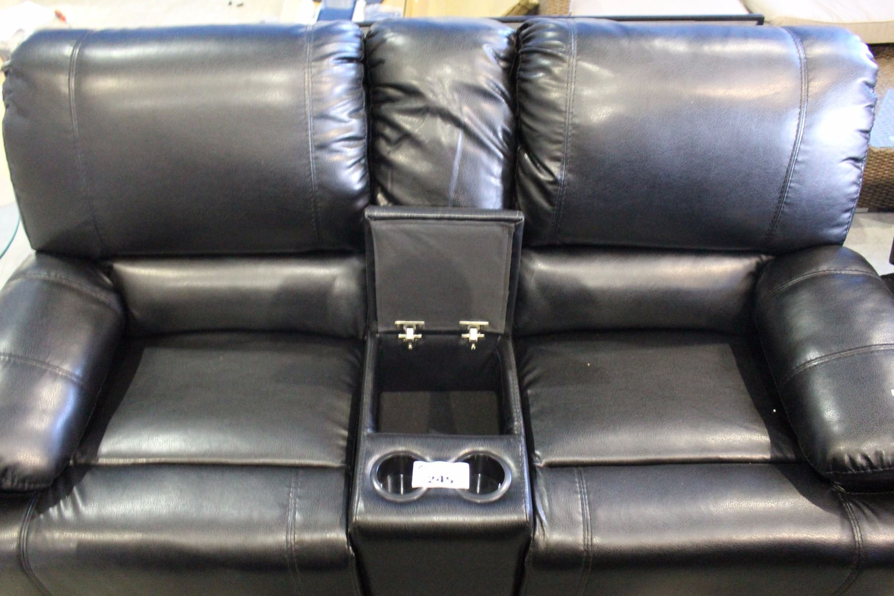 Black Bonded Leather Three Piece Reclining Living Room Set With Couch Loveseat And Chair Able